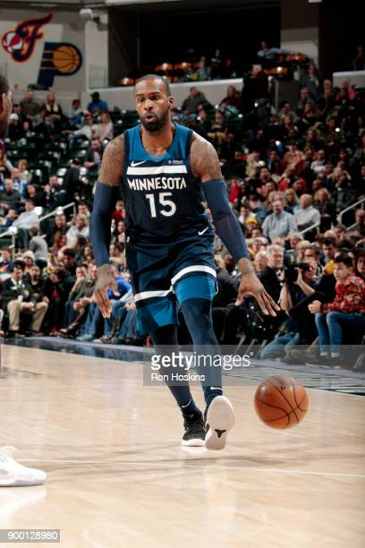 Shabazz Muhammad of the Minnesota Timberwolves handles the ball during the game against the Indiana Pacers on December 31 2017 at Bankers Life...