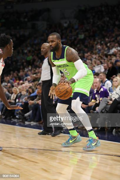 Shabazz Muhammad of the Minnesota Timberwolves handles the ball against the Toronto Raptors on January 20 2018 at Target Center in Minneapolis...
