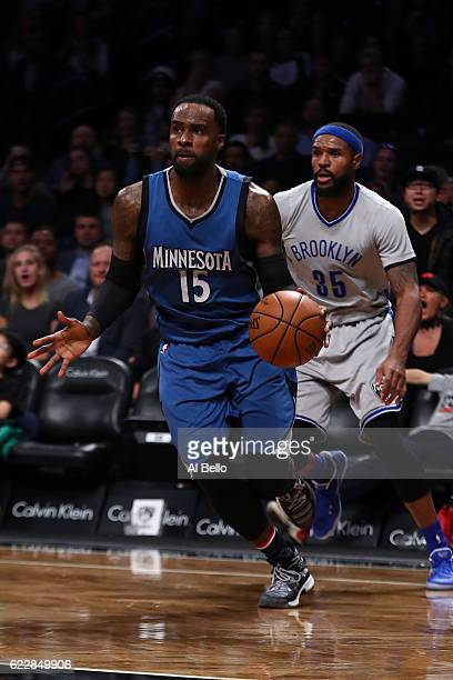 Shabazz Muhammad of the Minnesota Timberwolves in action against the Brooklyn Nets during their game at the Barclays Center on November 8 2016 in New...