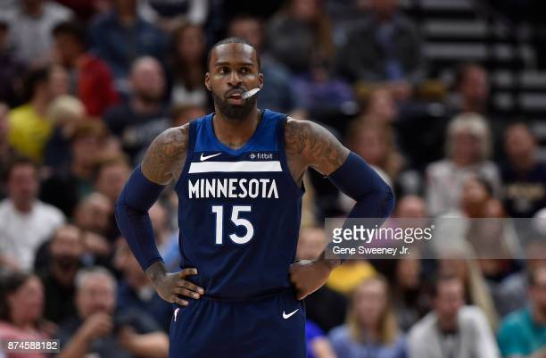 Shabazz Muhammad of the Minnesota Timberwolves looks on during their game against the Utah Jazz at Vivint Smart Home Arena on November 13 2017 in...