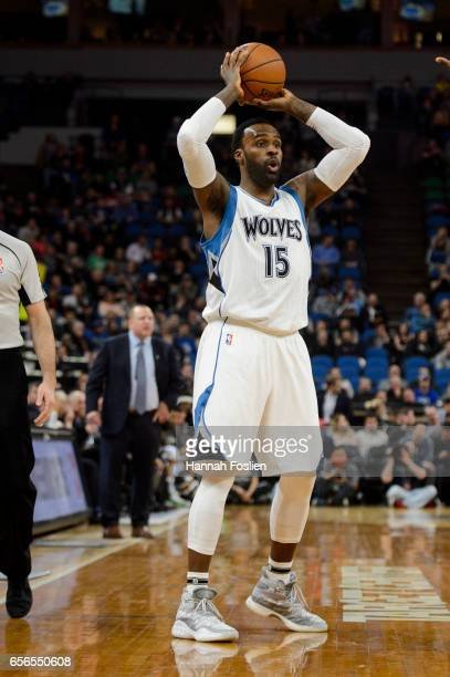 Shabazz Muhammad of the Minnesota Timberwolves passes the ball against the San Antonio Spurs during the second quarter of the game on March 21 2017...