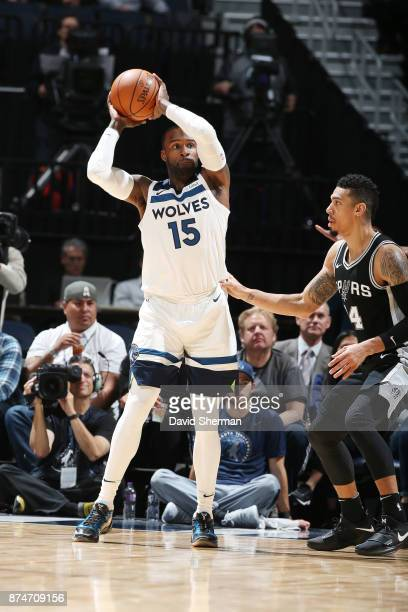 Shabazz Muhammad of the Minnesota Timberwolves passes the ball against the San Antonio Spurs on November 15 2017 at Target Center in Minneapolis...