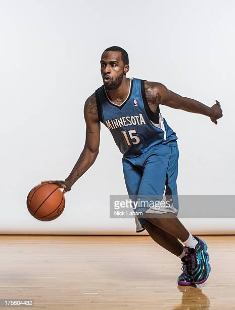 Shabazz Muhammad of the Minnesota Timberwolves poses for a portrait during the 2013 NBA rookie photo shoot at the MSG Training Center on August 6...
