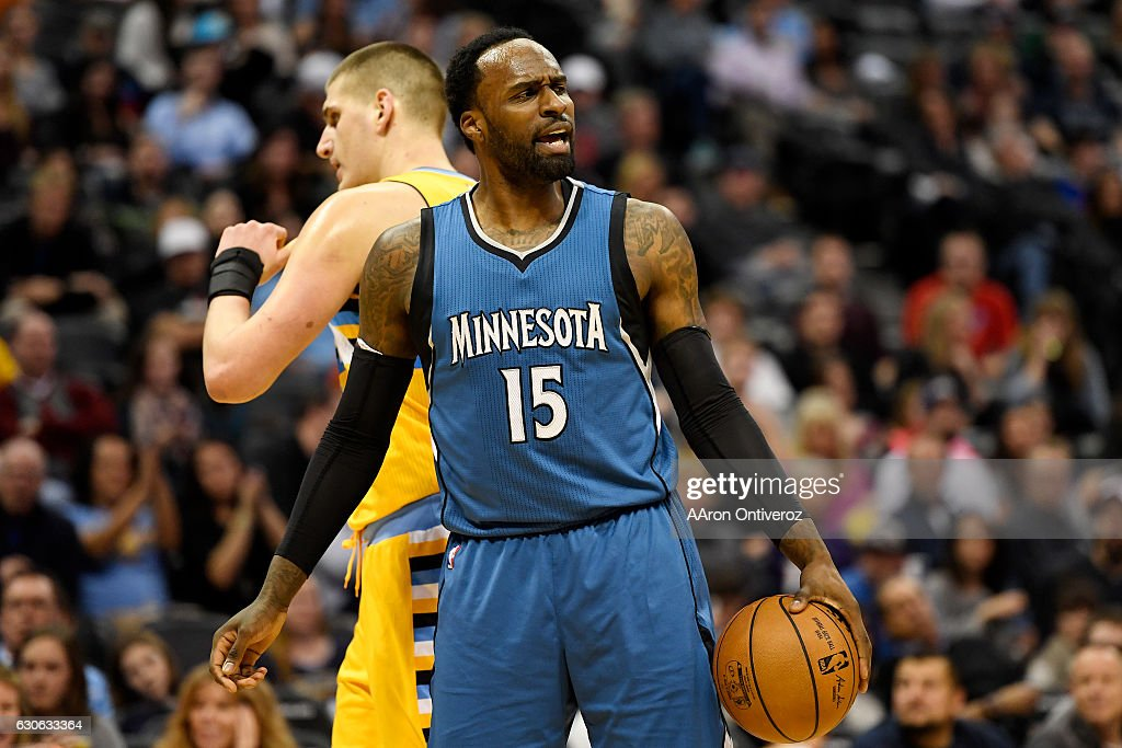 Shabazz Muhammad (15) of the Minnesota Timberwolves reacts to being called for a foul on Emmanuel Mudiay (0) of the Denver Nuggets during the second half of the Nuggets' 105-103 win. The Denver Nuggets hosted the Minnesota Timberwolves on Wednesday, December 28, 2016.