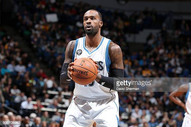 Shabazz Muhammad of the Minnesota Timberwolves shoots a free throw during the game against the Los Angeles Lakers on December 9 2015 at Target Center...