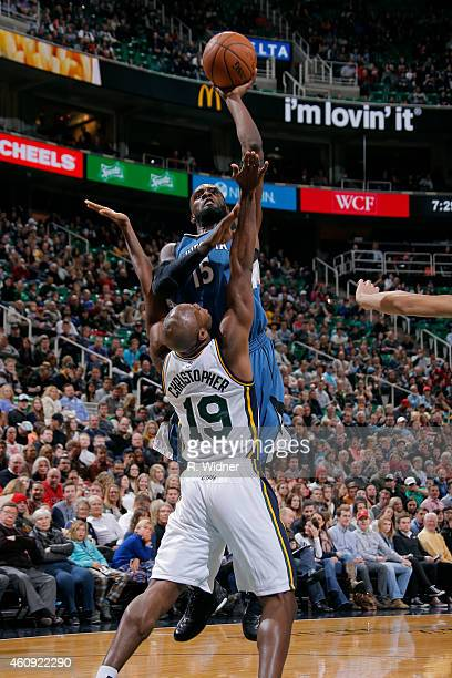 Shabazz Muhammad of the Minnesota Timberwolves shoots against the Utah Jazz at EnergySolutions Arena on December 30 2014 in Salt Lake City Utah NOTE...