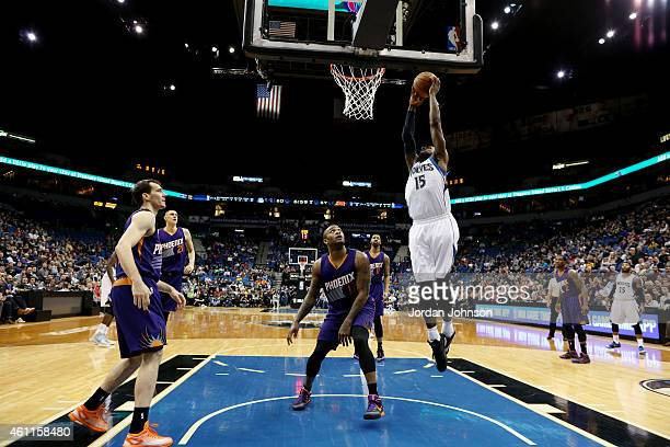 Shabazz Muhammad of the Minnesota Timberwolves shoots against the Phoenix Suns on January 7 2015 at Target Center in Minneapolis Minnesota NOTE TO...