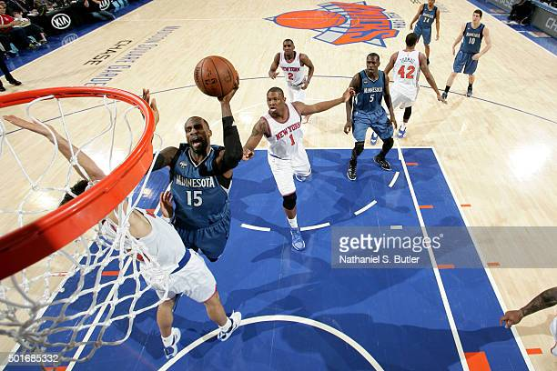 Shabazz Muhammad of the Minnesota Timberwolves shoots the ball during the game against the New York Knicks on December 16 2015 at Madison Square...