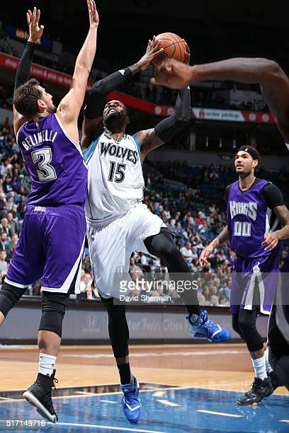 Shabazz Muhammad of the Minnesota Timberwolves shoots the ball against the Sacramento Kings on March 23 2016 at Target Center in Minneapolis...