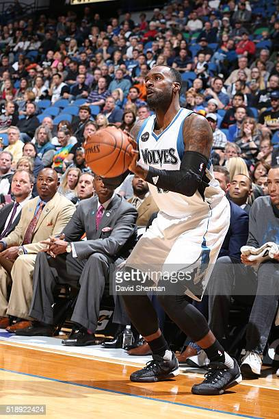 Shabazz Muhammad of the Minnesota Timberwolves shoots the ball against the Dallas Mavericks April 3 2016 at Target Center in Minneapolis Minnesota...