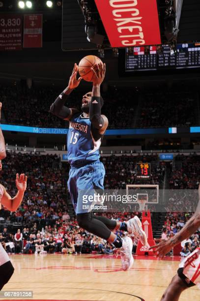 Shabazz Muhammad of the Minnesota Timberwolves shoots the ball against the Houston Rockets during the game on April 12 2017 at the Toyota Center in...