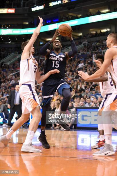 Shabazz Muhammad of the Minnesota Timberwolves shoots the ball against the Phoenix Suns on November 11 2017 at Talking Stick Resort Arena in Phoenix...