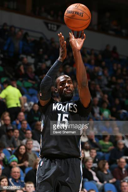Shabazz Muhammad of the Minnesota Timberwolves takes a shot against the Oklahoma City Thunder on December 12 2014 at Target Center in Minneapolis...