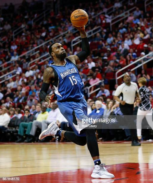 Shabazz Muhammad of the Minnesota Timberwolves with a breakaway dunk against the Houston Rockets at Toyota Center on April 12 2017 in Houston Texas...