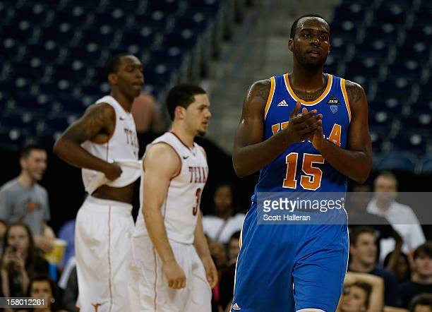 Shabazz Muhammad of the UCLA Bruins celebrates after a victory over the Texas Longhorns 6563 during the MD Anderson Proton Therapy Showcase at...
