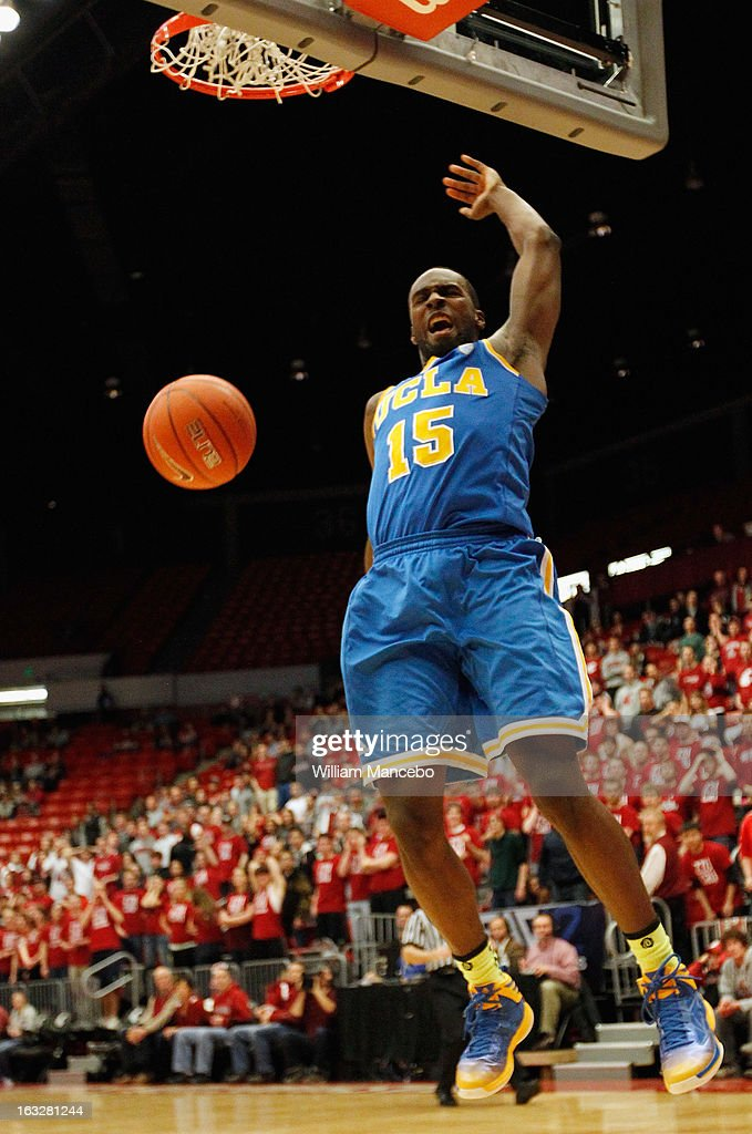 Shabazz Muhammad #15 of the UCLA Bruins dunks during the second half of the game against the Washington State Cougars at Beasley Coliseum on March 6, 2013 in Pullman, Washington.
