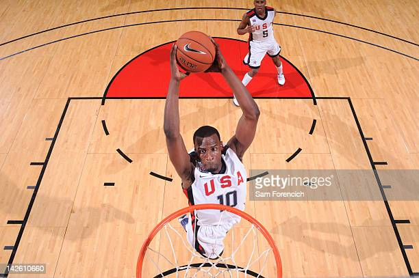 Shabazz Muhammad of the USA Junior Select Team dunks against the World Select Team during the 2012 Hoop Summit on April 7 2012 at the Rose Garden...
