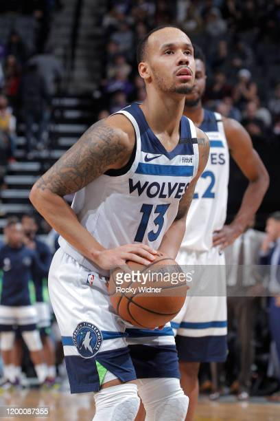 Shabazz Napier of the Minnesota Timberwolves attempts a free-throw shot against the Sacramento Kings on February 3, 2020 at Golden 1 Center in...