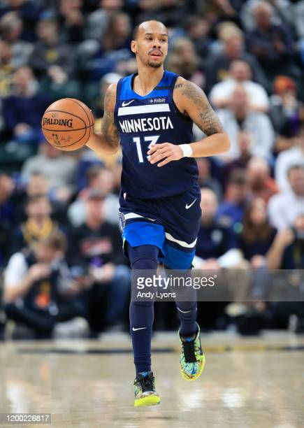 Shabazz Napier of the Minnesota Timberwolves dribbles the ball against the Indiana Pacers at Bankers Life Fieldhouse on January 17, 2020 in...