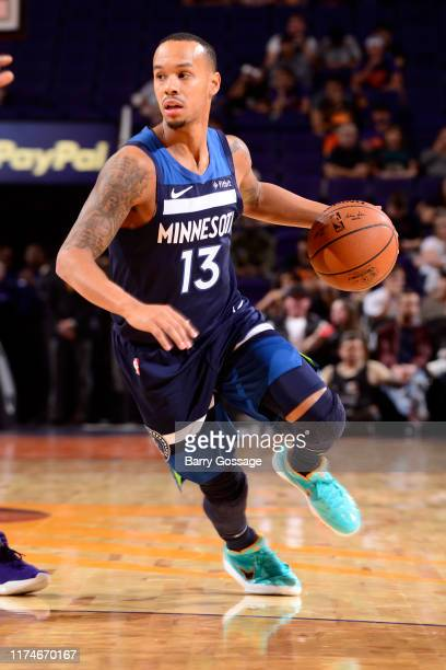 Shabazz Napier of the Minnesota Timberwolves handles the ball against the Phoenix Suns on OCTOBER 8, 2019 at Talking Stick Resort Arena in Phoenix,...