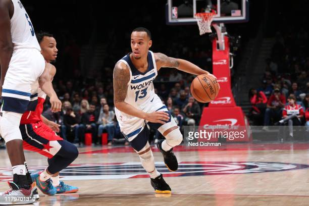 Shabazz Napier of the Minnesota Timberwolves handles the ball against the Washington Wizards on November 2, 2019 at Capital One Arena in Washington,...