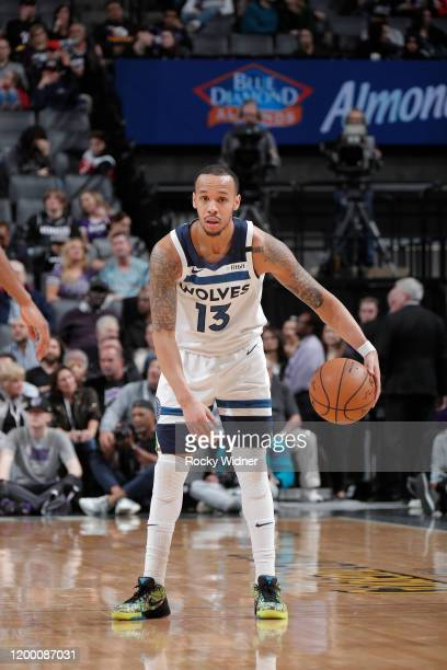 Shabazz Napier of the Minnesota Timberwolves handles the ball against the Sacramento Kings on February 3, 2020 at Golden 1 Center in Sacramento,...
