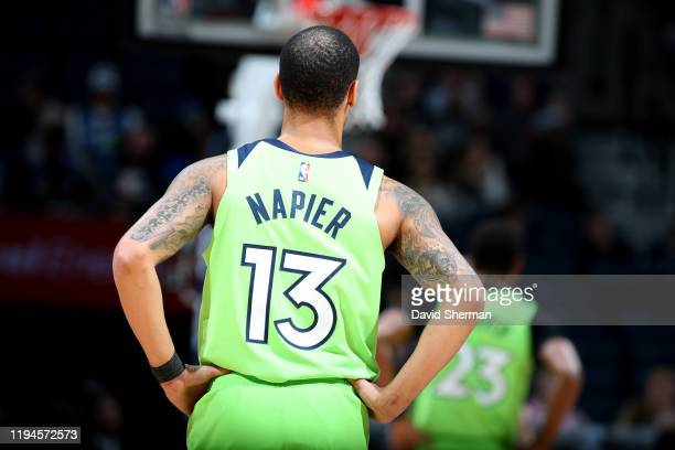 Shabazz Napier of the Minnesota Timberwolves looks on during the game against the Toronto Raptors on January 18, 2020 at Target Center in...