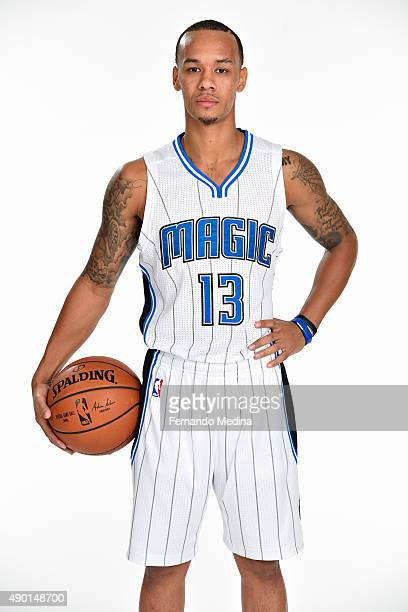 Shabazz Napier of the Orlando Magic poses for a portrait during NBA Media Day on September 25, 2015 at Amway Center in Orlando, Florida. NOTE TO...