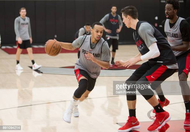 Shabazz Napier of the Portland Trail Blazers drives to the basket during an all access practice on December 7 2017 at the Trail Blazer Practice...