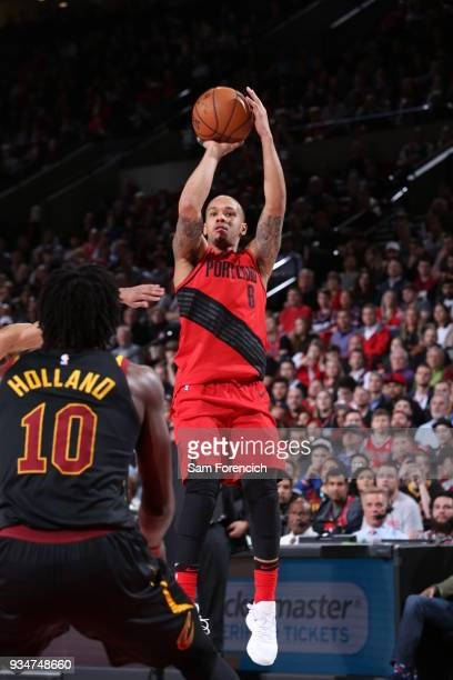 Shabazz Napier of the Portland Trail Blazers shoots the ball against the Cleveland Cavaliers on March 15 2018 at the Moda Center Arena in Portland...