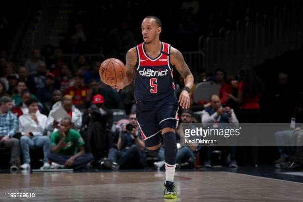 Shabazz Napier of the Washington Wizards handles the ball against the Dallas Mavericks on February 07, 2020 at Capital One Arena in Washington, DC....