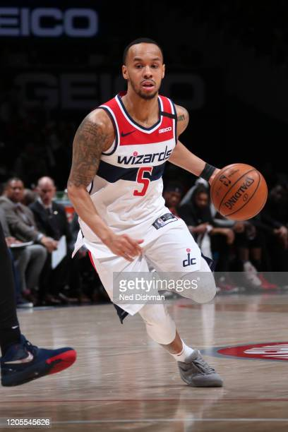 Shabazz Napier of the Washington Wizards handles the ball against the Atlanta Hawks on March 6, 2020 at Capital One Arena in Washington, DC. NOTE TO...
