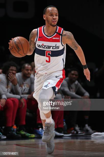 Shabazz Napier of the Washington Wizards handles the ball during the game against the Miami Heat on March 8, 2020 at Capital One Arena in Washington,...