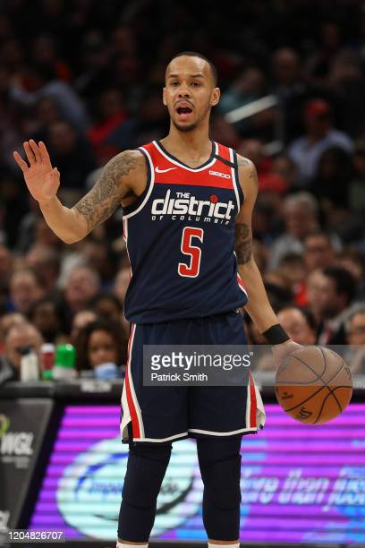 Shabazz Napier of the Washington Wizards in action against the Dallas Mavericks during the second half at Capital One Arena on February 07, 2020 in...