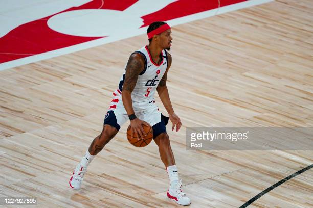 Shabazz Napier of the Washington Wizards plays against the Philadelphia 76ers during the first half of an NBA basketball game at The Arena at ESPN...