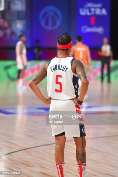Shabazz Napier of the Washington Wizards wears Equality on the back of his jersey during a game against the Phoenix Suns during a game on July 31,...