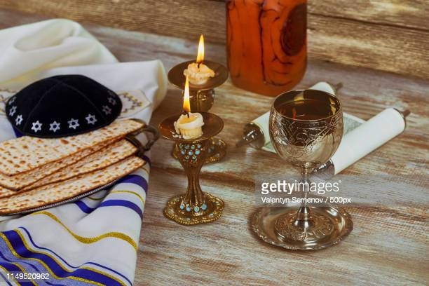 shabbat shalom - traditional jewish sabbath challah and wine ritual - passover symbols stock pictures, royalty-free photos & images