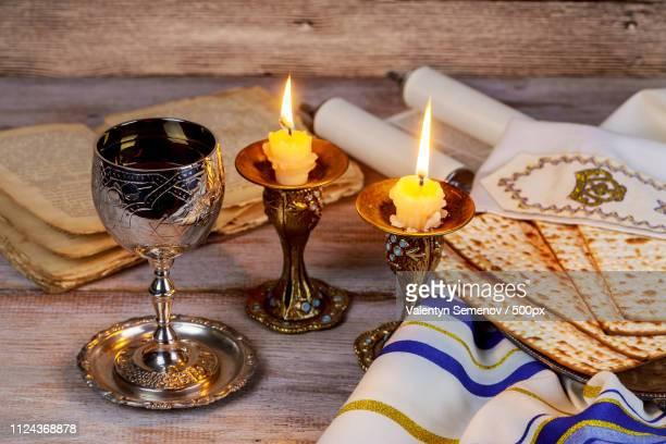 shabbat shalom - traditional jewish sabbath ritual matzah wine. - passover symbols stock pictures, royalty-free photos & images