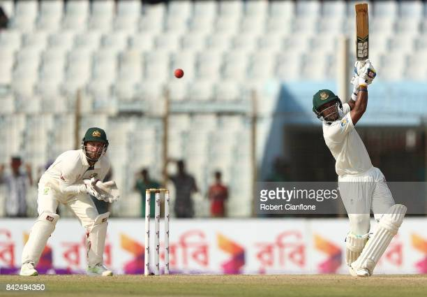 Shabbir Rahman Roman of Bangladesh bats during day one of the Second Test match between Bangladesh and Australia at Zahur Ahmed Chowdhury Stadium on...