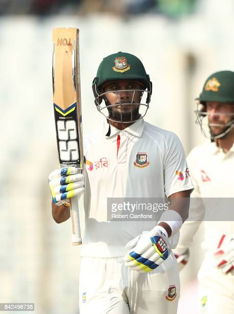 Shabbir Rahman Roman of Bangladesh celebrates making his half century during day one of the Second Test match between Bangladesh and Australia at...