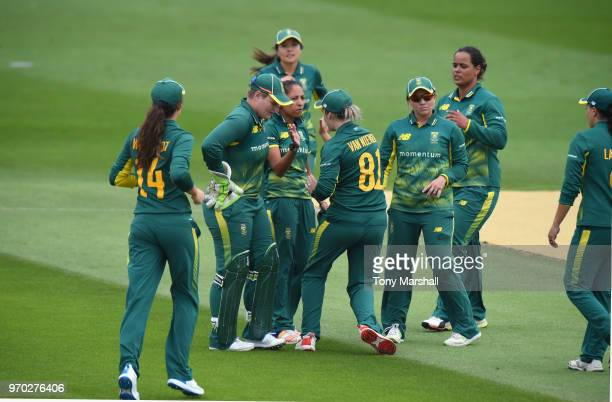 Shabmin Ismail of South Africa celebrates bowling out Amy Jones of England during the 1st ODI ICC Women's Championship match between England Women...