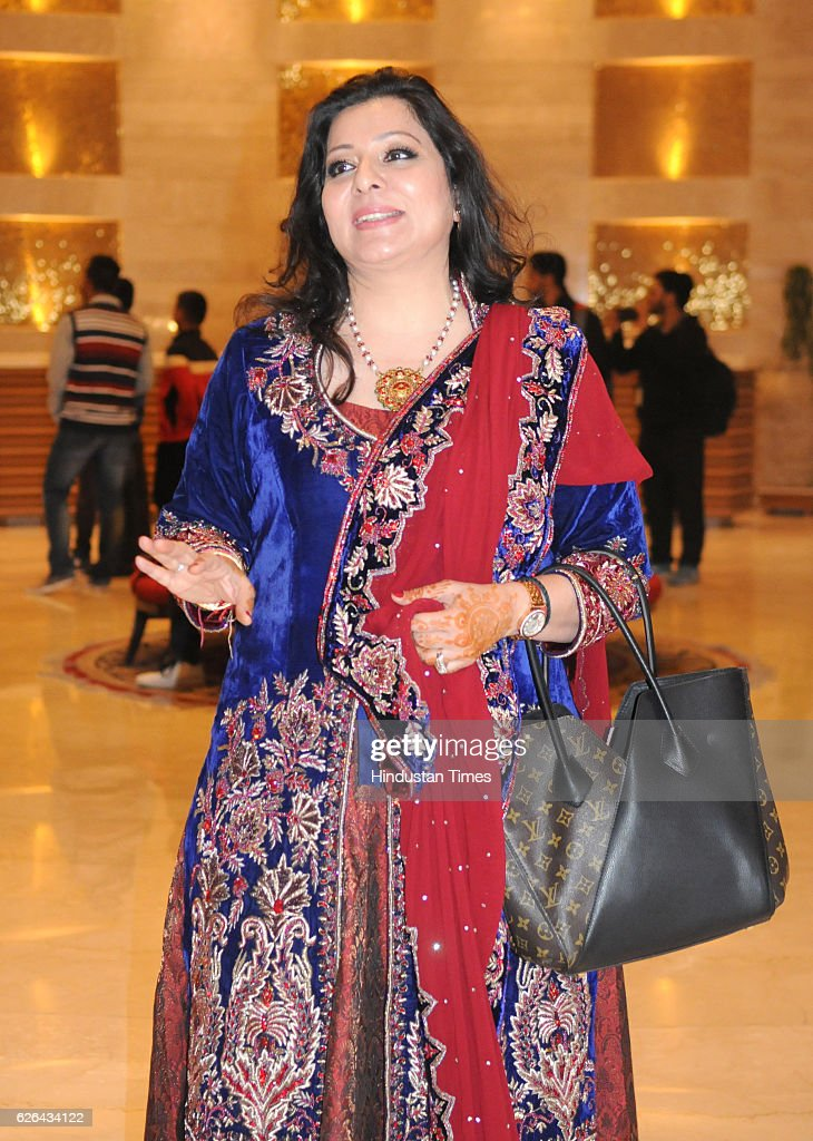 Shabnam singh mother of Indian cricketer Yuvraj Singh during pre wedding Sangeet ceremony of Yuvraj Singh and Hazel Keech at The Lalit Hotel on...