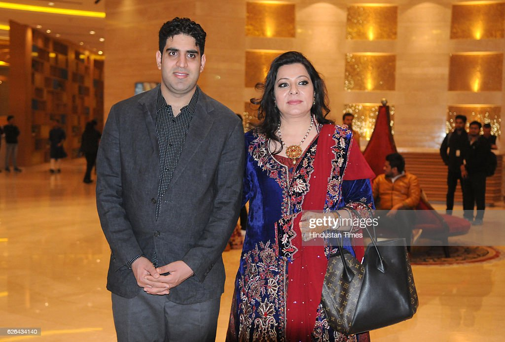 Shabnam singh mother of Indian cricketer Yuvraj Singh with son Zorawar Singh during pre wedding Sangeet ceremony of Yuvraj Singh and Hazel Keech at...