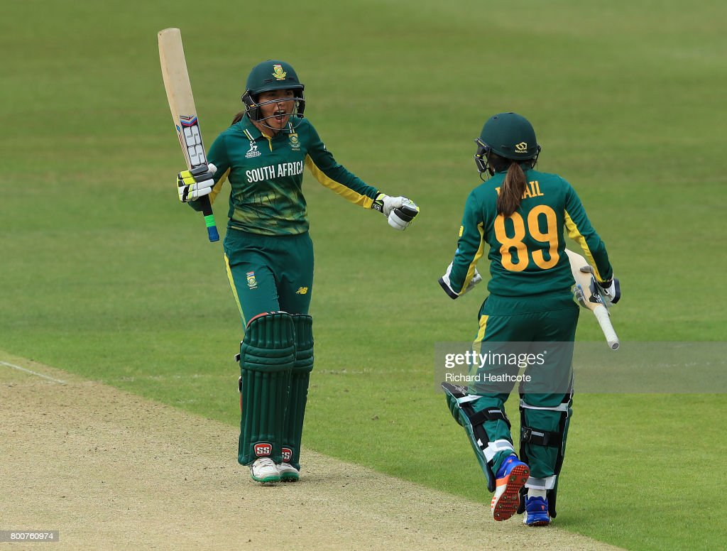 Shabnim Ismail and Sune Luus of South Africa celebrate hitting the winning runs and securing victory during the ICC Women's World Cup group match between Pakistan and South Africa at Grace Road on June 25, 2017 in Leicester, England.
