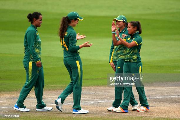 Shabnim Ismail of South Africa celebrates taking the wicket of Amy Jones of England with team mates during the ICC Women's Championship 2nd ODI match...