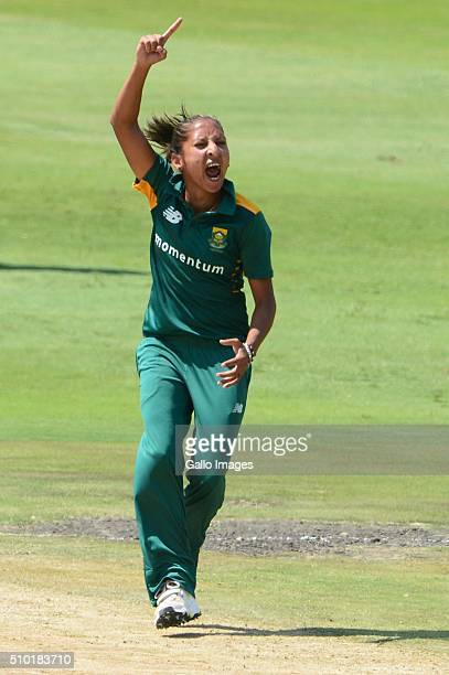Shabnim Ismail of South Africa celebrates the wicket of Lauren Winfield of England during the 3rd One Day International match between South African...