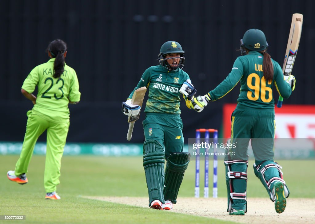 Shabnim Ismail of South Africa celebrates with Sune Luus of South Africa after hitting the winning runs off the bowling of Kainat Imtiaz of Pakistan during the ICC Women's World Cup match between Pakistan and South Africa at Grace Road on June 25, 2017 in Leicester, England.