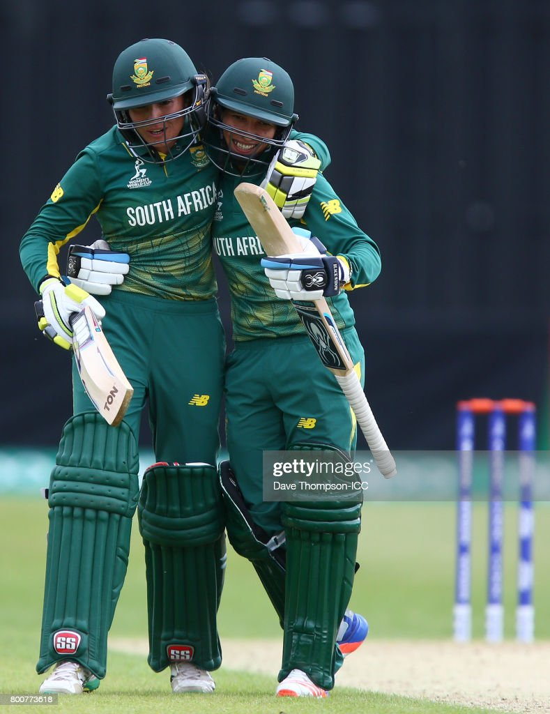 Shabnim Ismail of South Africa (R) celebrates with Sune Luus of South Africa after hitting the winning runs during the ICC Women's World Cup match between Pakistan and South Africa at Grace Road on June 25, 2017 in Leicester, England.