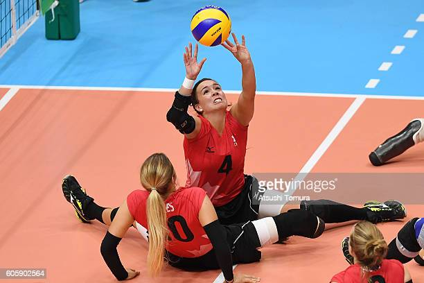 Shacarra Orr of Canada sets up the ball in sitting volleyball women's 78 classification match 13 on day 8 of the Rio 2016 Paralympic Games at the Rio...