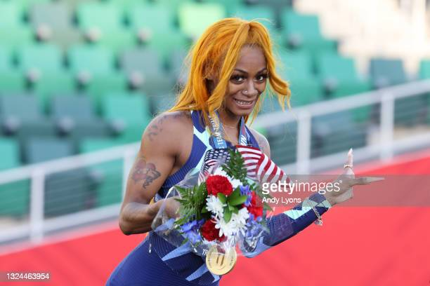 Sha'Carri Richardson celebrates winning the Women's 100 Meter final on day 2 of the 2020 U.S. Olympic Track & Field Team Trials at Hayward Field on...
